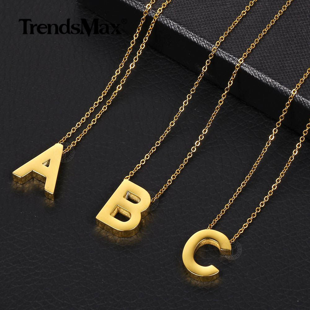Silver Tone A-Z Alphabet Initial Letter Pendant Charms Necklace Link Chain